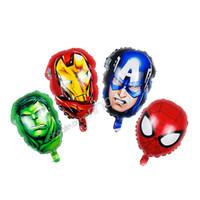 harikulade dekorasyonlar toptan satış-Şişme doğum günü partisi balonlar süslemeleri helyum folyo Avengers Marvel karikatür Demir Adam Kaptan Amerika Spiderman Hulk ço ...