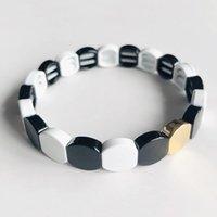 Wholesale panda bracelet resale online - High Quality Honeycomb Shape Rainbow Tile Beads Bracelet Enamel Stretch Bracelet Special Custom Black and White Panda Color