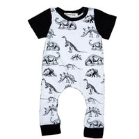 Wholesale childrens cotton shorts for sale - Dinosaur printed Jumpsuit Childrens Jumpsuit Short Sleeved Jumpsuit Children in Conjoined Pyjamas Cotton Conjoined Dress White