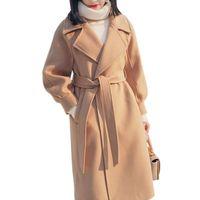 abrigos de cachemira blanco al por mayor-Womens Winter Thicken Lantern Sleeves Long Overcoat Turn-down Collar Adjustable Belt Outwear Female Office Wear