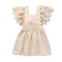 vestido de manga de encaje de niño al por mayor-Nuevos Vestidos de niña Vestidos de manga larga de encaje Algodón liso liso Vestido de bowknot Volver Ropa de niño 2019 Verano