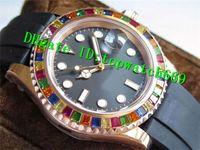 diamante suizo 18k al por mayor-Nuevo lujo 40 116695SATS Reloj 904L Caja de acero inoxidable con 18 quilates de oro rosa Diamante Bisel Correa de caucho Swiss 3135 Reloj automático para hombre