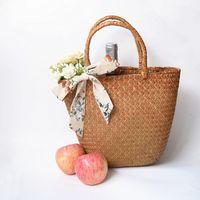 Wholesale woven rattan tote bag online - Casual straw bag natural wicker tote bags women braided handbag for summer handmade vintage mini woven rattan beach bags woman