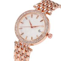 наручные часы круглого стола оптовых-Известный майкл Женские часы Rhinestone Модное платье Женские часы KOR Dial Man сумка DZ pandora Часы мм