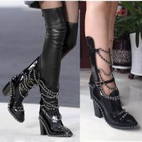 botas altas hasta el muslo cadenas al por mayor-Más el tamaño EU35-43 Botas Mujer Plataforma Zapatos Bloque Tacones Altos Cadena Estiramiento cruzado Negro Cuero Muslo Botas altas Mujeres Tobillo / Botines largos