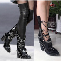 Wholesale black platform booties resale online - Plus Size Botas Mujer Platform Runway Shoes Block Heels Chain Cross Stretch Black Leather Thigh High Boots Women Ankle Long Booties