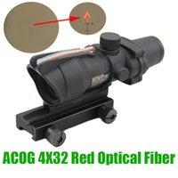 ingrosso fucile tattico illuminato-Tactical ACOG 4X32 Ottica Fibra Ottica Rosso Illuminato Chevron Reticolo Inciso Real Red Fibra Caccia Rifle Scope