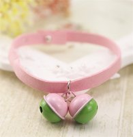 Wholesale suede necklace rope resale online - Pinkycolor Pet Collars Cat Bell Suede Rope Pure Color Collar Handwork Fashion Lovely Necklace Popular Sell Well ml J1