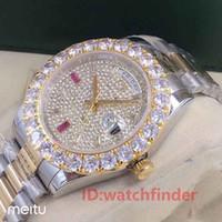 бриллианты для мужчин оптовых-Розовое золото День Дата Президент Автоматическая 2813 Diamond Iced Out Роскошные деловые мужские дизайнерские часы Мужские часы Наручные часы man