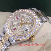 Wholesale ice roses resale online - Rose Gold Day Date President Automatic Diamond Iced Out Luxury Business Mens Designer Watches Men Watch Wristwatches man