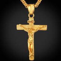 Wholesale pendent jewelry for sale - Group buy Religious Jesus Cross Necklace for Men New Fashion Gold and Silver Cross Pendent with Chain Necklace Jewelry Gifts for Men