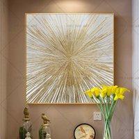benzersiz soyut tuval resmi toptan satış-El yapımı Sliver oturma odası yatak odası Benzersiz hediye Y200103 için tuval duvar Sanat Tuval resme soyut yağlı boya Boyama altın Yağı