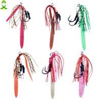 10pcs Silicone Rubber Skirt Jig Fishing Hooks with PE Line Lifelike Assist Hook