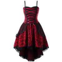 b095b85d3 Gamiss Fashion Sexy Plus Size Lace Up Dip Hem Corset Vestido de encaje  Noche Casual Mujer Empuja hacia arriba Gothic Corset Dress XL-5XL Y19012102