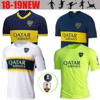 futebol qualidade tailandesa azul venda por atacado-2019-2020 novo Boca Juniors Casa Camisa de Futebol Azul Boca Juniors Longe Camisa de Futebol Branco 2020 Uniformes de Futebol Vendas Thai qualidade camisa