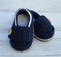 ingrosso ragazzi crochet sandali-spedizione gratuita, sandali all'uncinetto scarpe / scarpe bambino / uncinetto mocassini button boy crochet 100% cotone 0-18 mesi