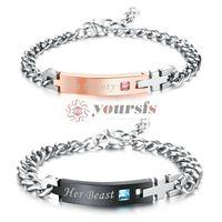 verdaderas pulseras de amor al por mayor-Yoursfs True Love Pair Bracelet Juego de 2 piezas Amante alérgico de acero inoxidable CZ Zirconia Armlet Pair