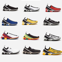 Wholesale ladies shoes red silver resale online - 2019 New Designer shoes Sorrento Sneaker Men Fabric Stretch Jersey Slip on Sneaker Lady Two tone Rubber Micro Sole Breathable Casual Shoes