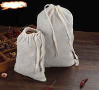 meyve suyu filtresi toptan satış-10 adet Pamuk Filtre torbası Pamuk Muslin Kullanımlık İpli Çanta Ambalaj Banyo Sabunu Otlar Filtre Çay Poşetleri Meyve Suyu Ayrı zorlanma 20x30 cm