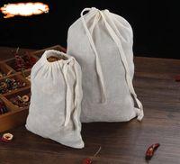 filtro de jugo al por mayor-10pc Bolsa de algodón Bolsa de algodón Muselina Bolsas con cordón reutilizables Embalaje Jabón de baño Hierbas Filtro Bolsas de té Jugo de fruta Cepa separada 20x30cm