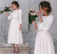 Wholesale plus size beach wedding dresses for sale - Vintage Stain A Line Wedding Dresses Bohemia Beach Tea Length Bridal Gowns Beaded Sash Long Sleeves Formal Party Dress