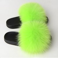 Wholesale beige color slippers for sale - Group buy Women Fur Fluffy Flat Home Slippers Plush Furry Candy Color Slides Ladies Flip Flops Female Fashion Casual Shoes Plus Size