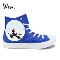 Wen Unisex Sneakers Hand Painted Shoes Kiki s Delivery Service Anime Design Vulcanize  Shoes Girl Boy Cosplay Plimsolls  54810 450bb5e0c