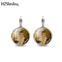 ingrosso gioielli fatti a mano d'argento di miao-2019 New Fashion Argento placcato bronzo Gustav Klimt Art Glass Circle Orecchini in acciaio orecchini fatti a mano orecchio gioielli per le donne