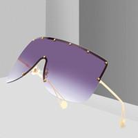 quadratische schutzbrille großhandel-Mode Frauen Neue Übergroße Quadrat Sonnenbrille Männer 2019 Markendesigner Randlose sonnenbrille Frauen Winddicht Visier Brille Brillen UV400 W87