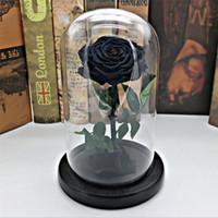свежие розы сохранились оптовых-Черный Forever Rose Сохраненный Цветок Бессмертный Свежая Роза В Стеклянной Вазе Cloche Свадебные Украшения Уникальные Подарки Q190429