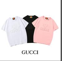 schöne frauen s großhandel-Der jungen schönen Baumwoll-T-Shirt der Sommerstraße europäischen Paris-Modefrauen schwarz weiß rosa beschriftet Stickerei