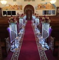 peças de moda venda por atacado-Moda de luxo longo de cristal do casamento carrinho de flores passarela decoração de mesa de chumbo de casamento centerpieces partido do evento T-stand decoração