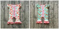Wholesale flowers kids clothes resale online - new arrivals summer baby girls sleeveless cotton floral ruffle boutique romper tutu mint coral clothes flower kids wear