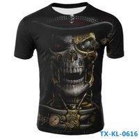 base layer toptan satış-Karikatür 3D Baskı Komik Erkek Kafatası T Shirt Yaz Hızlı Kuru Tees Sıkıştırma Gömlek Baz Katman Kısa Kollu Tops