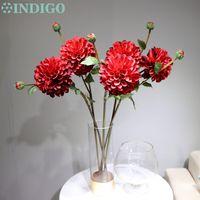 grandes flores decorativas al por mayor-INDIGO-Nueva llegada 5pcs - Dahlia Big Red Daisy Chrysanthemum Home Decorative Artificial Flower Wedding Party Envío gratis