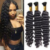Wholesale deep wave human braiding hair for sale - Group buy Human Hair Bulk No Attachment A Cheap Brazilian Deep Wave Hair in Bulk Hair for Braiding No Weft