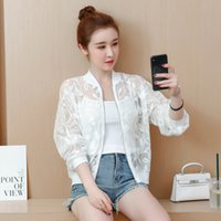 Wholesale air condition jacket resale online - 2019 Summer Women Girls Zipper Thin O Neck Solid Lace Hollow Jacket Embroidery Air Conditioning Shirt Sunscreen Clothing Jacket