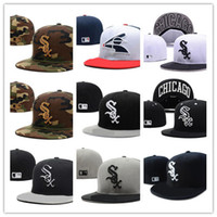 Wholesale black white dot hat resale online - New Hot On Field White Sox fitted hat Top Quality flat Brim embroiered Letter SOX Team logo fans baseball Hats full closed