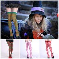 ingrosso calze lunghe calde-costumi del partito caldo di Halloween di Natale e oggetti di scena a strisce calze sopra il ginocchio lungo tubo calze colorate collant in 5 stili T3I5324