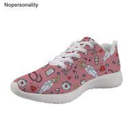sapatos de enfermagem de moda venda por atacado-Enfermeira Nopersonality Dos Desenhos Animados Impressão Sneakers Mulheres Respirável Malha Moda Feminina Flats Sapatos Leve Estudante Sapatos Casuais