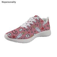 ingrosso pattini di cura di modo-Nopersonality Cartoon Nurse Printing Sneakers Donna Mesh traspirante Moda femminile Appartamenti scarpe leggere studenti scarpe casual