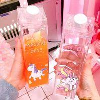 tek boynuzlu meyve suyu şişeleri toptan satış-Unicorn Süt şişesi Şeffaf süt fincan Sevimli Karikatür Gökkuşağı At Kahve Su Suyu Şişesi Unicorn Süt Şişeleri GGA1568