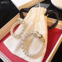 pendientes de oro blanco al por mayor-Pendientes circuito de encanto la vendimia del oro Preclous cobre blanco plateado del hueco de la perla Círculo de la joyería para las mujeres