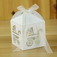 аксессуары для детской коляски оптовых-50PCS Wedding Table Hollow Birthday DIY Candy Gift Box Ribbon Decorations Laser Cut Party Favour Supplies Baby Carriage Festive