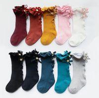 kinder kniestrümpfe großhandel-New Kids Socks Kleinkinder Mädchen Big Bow Knitted Kniehohe lange weiche Baumwollspitze Babysocken Kids kniekousen meisje Baby Girls Socks
