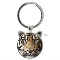 Wholesale cool ring designs for men resale online - TAFREE Brand charm tiger keychain design vintage tiger wild animal pendant key chain ring holder cool gift for men women CN476