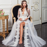 Wholesale tulle bridal capes for sale - Group buy Sexy White Long Sleeves Bridal Wedding Wraps Jackets Floor Length Lace Applique Deep V Neck Tulle Cloaks Capes Shawls Night Robes