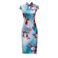 ingrosso più abiti cheongsam di formato-Blu Plus Size 4XL sexy mandarino colletto button floreale handmade Qipao Donne il vestito tradizionale cinese Vintage Lady Sexy Cheongsam