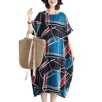 çince kadın kısa elbise toptan satış-Moda çin tarzı 2019 yeni kadın elbiseler rahat artı boyutu pamuk keten yaz dress kısa kollu o-boyun gevşek vintage dress