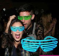белые перчатки оптовых-Neon Party Luminous очки EL провода Неон LED Солнцезащитные очки Light Up очки Rave партии костюма DJ солнцезащитной Birthday Party Decor 10 цветов
